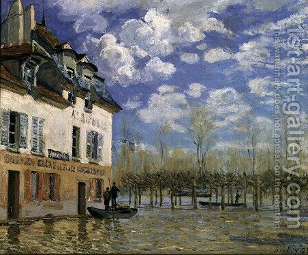 The Boat in the Flood, Port-Marly, 1876 by Alfred Sisley - Reproduction Oil Painting