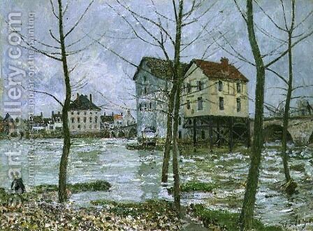 The Mills at Moret-sur-Loing, Winter, 1890 by Alfred Sisley - Reproduction Oil Painting