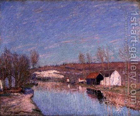 The Loing and the Slopes behind St. Nicaise, February Afternoon, 1890 by Alfred Sisley - Reproduction Oil Painting