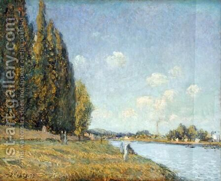 The Seine at Billancourt, 1879 by Alfred Sisley - Reproduction Oil Painting