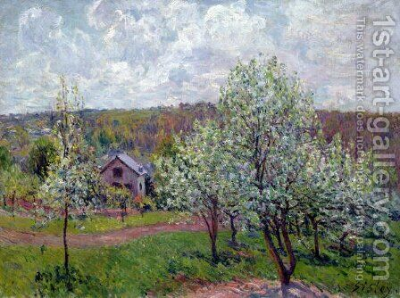 Spring in the Environs of Paris, Apple Blossom, 1879 by Alfred Sisley - Reproduction Oil Painting