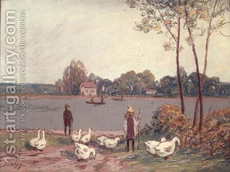 On the Banks of the Loing by Alfred Sisley - Reproduction Oil Painting