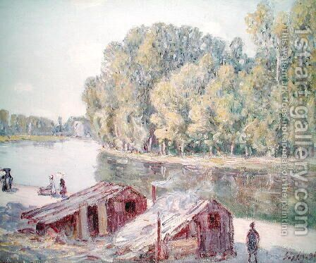 Banks of the River, 1896 by Alfred Sisley - Reproduction Oil Painting