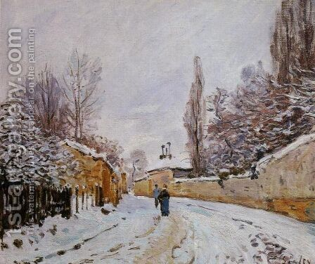 Road under Snow, near Louveciennes, 1876 by Alfred Sisley - Reproduction Oil Painting