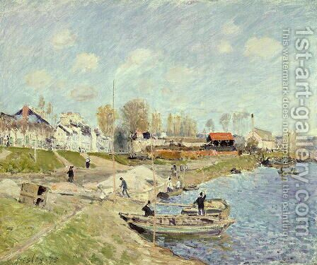 The Quay at Sable near Port-Marly, 1875 by Alfred Sisley - Reproduction Oil Painting