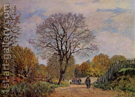 A Road in Seine-et-Marne, 1878 by Alfred Sisley - Reproduction Oil Painting