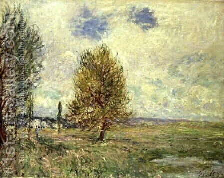 The Plain at Veneux-Nadon by Alfred Sisley - Reproduction Oil Painting