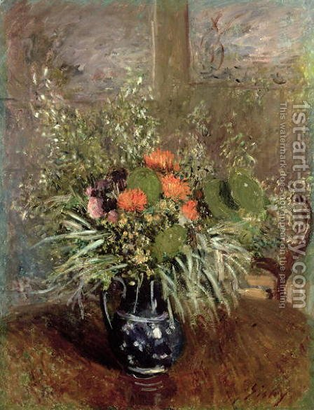 Still Life of Wild Flowers by Alfred Sisley - Reproduction Oil Painting