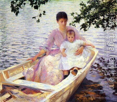 Mother and Child in a Boat, 1892 by Edmund Charles Tarbell - Reproduction Oil Painting