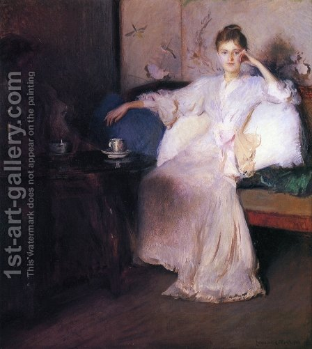 Arrangement in Pink and Gray by Edmund Charles Tarbell - Reproduction Oil Painting