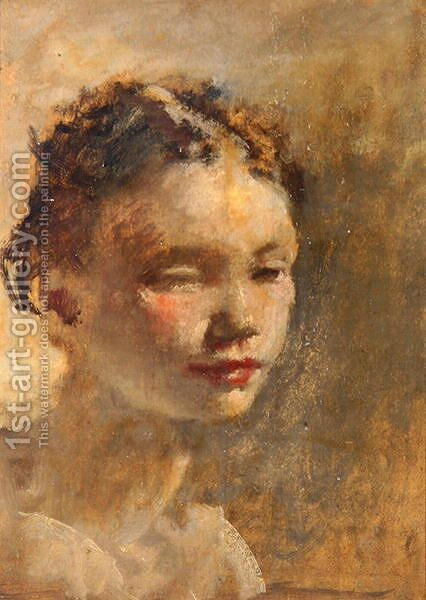 Girl's Head, c.1930 by Henry Tonks - Reproduction Oil Painting