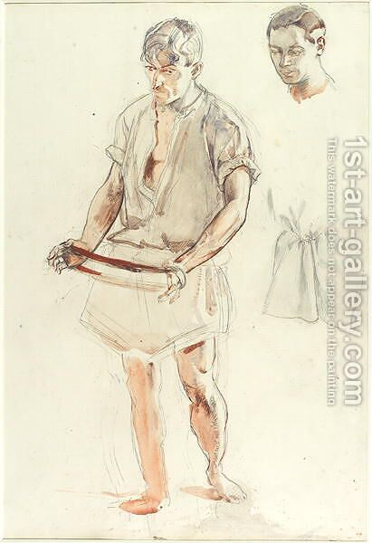 Man Standing- Studies of Head and of Shirt by Henry Tonks - Reproduction Oil Painting