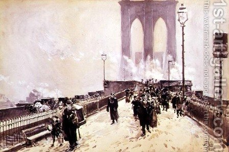 A Winter Day on Brooklyn Bridge by Childe Hassam - Reproduction Oil Painting