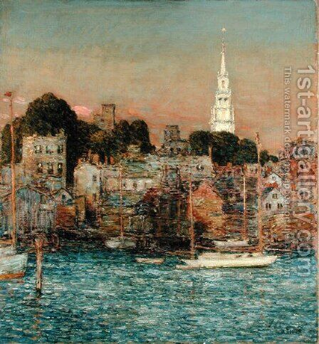 October Sundown, Newport, 1901 by Childe Hassam - Reproduction Oil Painting