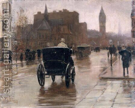 Columbus Avenue, Rainy Day, 1885 by Childe Hassam - Reproduction Oil Painting