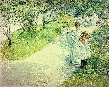 Promenaders in the garden, 1898 by Childe Hassam - Reproduction Oil Painting