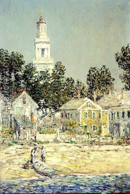 White Church, Provincetown, 1900 by Childe Hassam - Reproduction Oil Painting