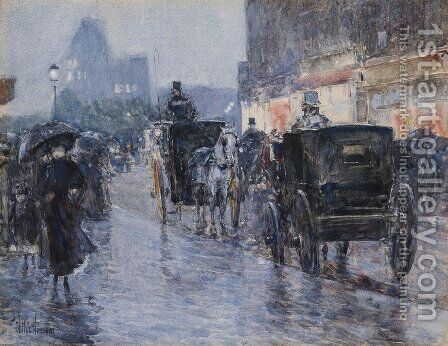 Horse Drawn Cabs at Evening, New York, c.1890 by Childe Hassam - Reproduction Oil Painting