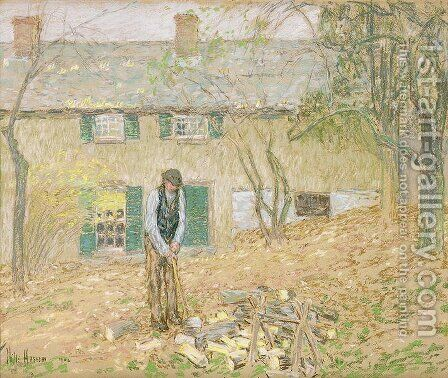 Woodchopper, 1902 by Childe Hassam - Reproduction Oil Painting