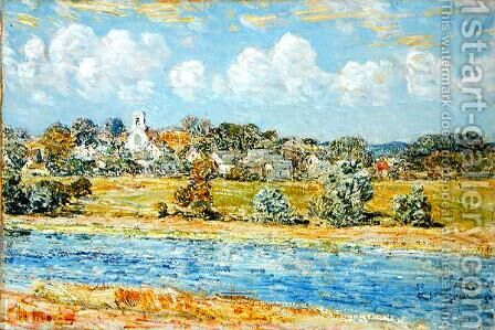 Landscape at Newfields, New Hampshire, 1909 by Childe Hassam - Reproduction Oil Painting