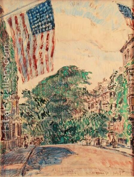 Mount Vernon Street, Boston, 1919 by Childe Hassam - Reproduction Oil Painting