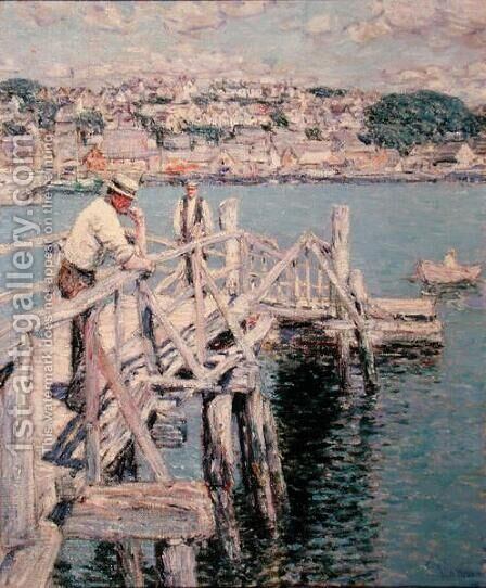 Dock Scene, Gloucester, 1896 by Childe Hassam - Reproduction Oil Painting