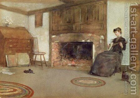 A Familiar Tune, c.1880 by Childe Hassam - Reproduction Oil Painting
