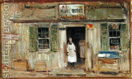 News Depot, Cos Cob, 1912 by Childe Hassam - Reproduction Oil Painting