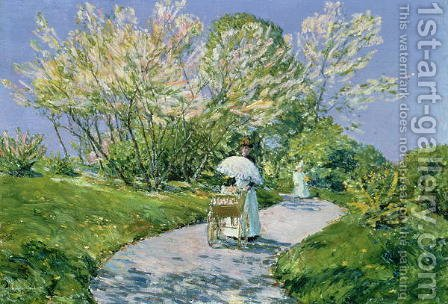 A Walk in the Park by Childe Hassam - Reproduction Oil Painting
