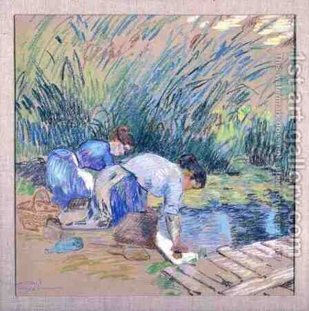 Two Washerwomen by Armand Guillaumin - Reproduction Oil Painting