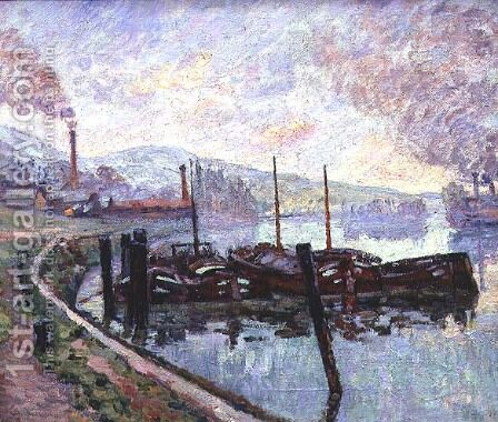 Coal Barges by Armand Guillaumin - Reproduction Oil Painting