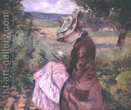 Madame Guillaumin reading, c.1887 by Armand Guillaumin - Reproduction Oil Painting
