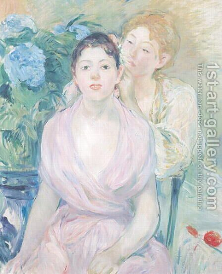 The Hortensia, or The Two Sisters, 1894 by Berthe Morisot - Reproduction Oil Painting