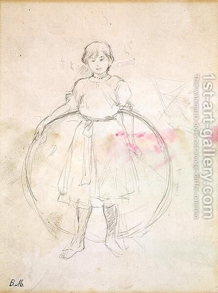 Young Girl with a Hoop 1888 by Berthe Morisot - Reproduction Oil Painting