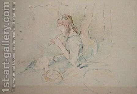 The Flageolet Player 1890 by Berthe Morisot - Reproduction Oil Painting