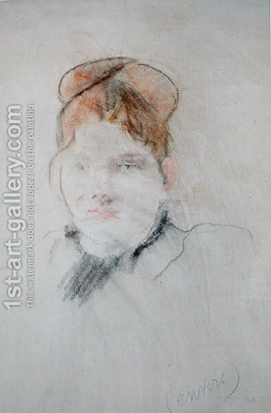 Head of a Woman 1886 by Berthe Morisot - Reproduction Oil Painting