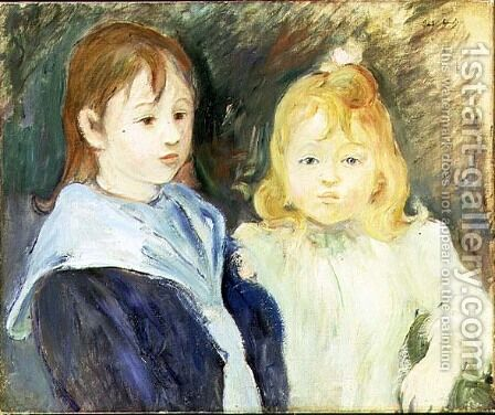 Portrait of Two Children 1893 by Berthe Morisot - Reproduction Oil Painting