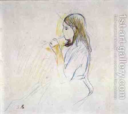Manet's Daughter Playing the Recorder by Berthe Morisot - Reproduction Oil Painting