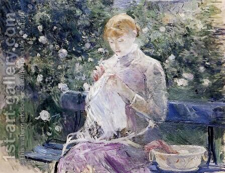 Pasie sewing in Bougival's Garden 1881 by Berthe Morisot - Reproduction Oil Painting