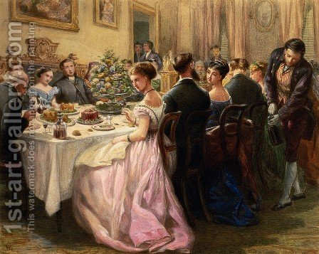 The Dinner Party by Sir Henry Cole - Reproduction Oil Painting