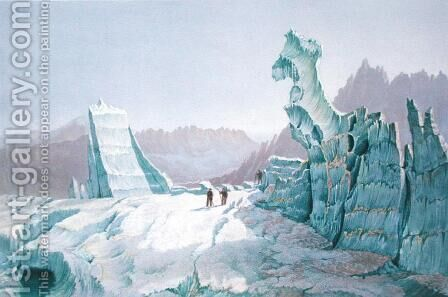 Icebergs on the Glacier des Bossons, looking towards the Valley 1859 by (after) Edward Thomas Coleman - Reproduction Oil Painting