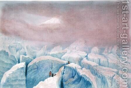 View of the Glacier des Bossons  1859 by (after) Edward Thomas Coleman - Reproduction Oil Painting