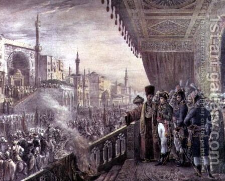 Napoleon Bonaparte (1769-1821) Celebrating the Birthday of the Prophet Mohammed during his Campaign on Egypt (1798-1801) by Alexandre-Marie Colin - Reproduction Oil Painting