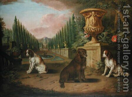 Three Spaniels in a formal garden  c.1730 by Charles Collins - Reproduction Oil Painting