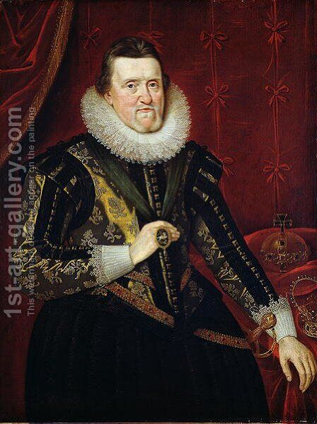 James VI of Scotland and I of England and Ireland (1566-1625) by Adam de Colone - Reproduction Oil Painting