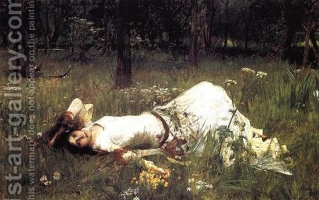 Ophelia  1889 by Waterhouse - Reproduction Oil Painting