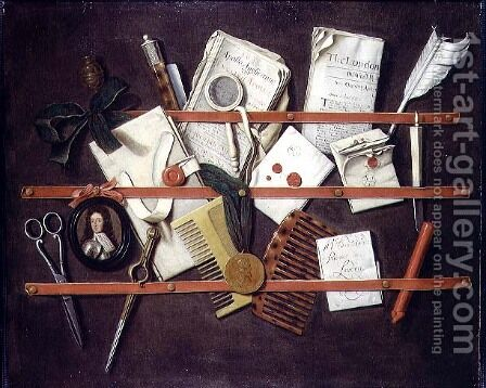 Trompe l'oeil letter rack with a miniature portrait of a young man in armour, 1697 by Edwart Collier - Reproduction Oil Painting