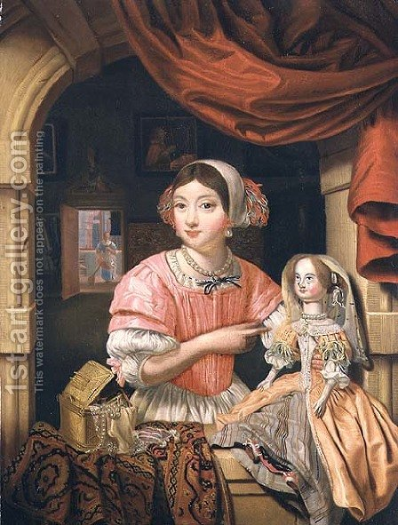 Girl holding a doll in an interior with a maid sweeping behind by Edwart Collier - Reproduction Oil Painting