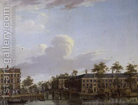 The Alms Houses on River Amstel, Amsterdam by Jan ten Compe - Reproduction Oil Painting