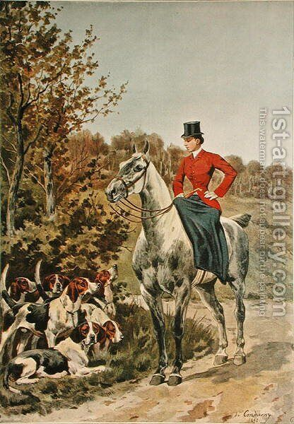 Horsewoman with Hounds, from Paris-Noel 1892-93 by (after) Condamy, Charles Fernand de - Reproduction Oil Painting